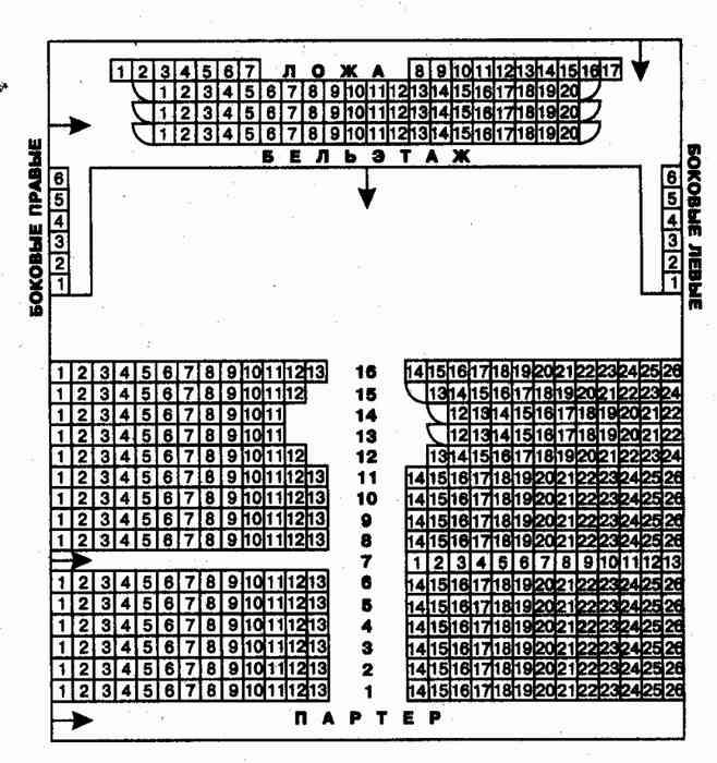 Схема зала театра на Таганке